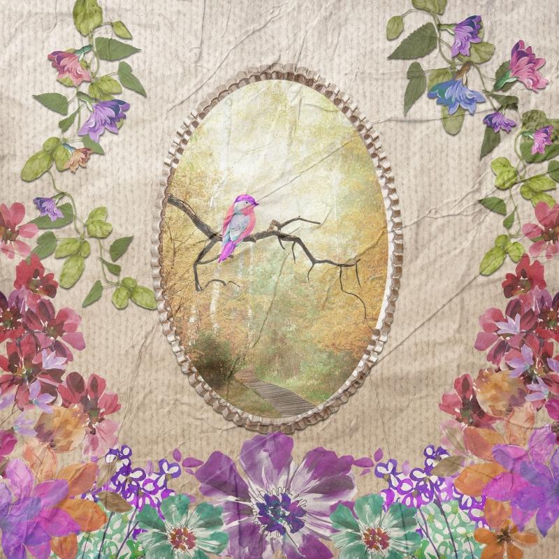4 serviettes en papier d coupage collage 33 cm oiseau et fleur serviette en papier animaux. Black Bedroom Furniture Sets. Home Design Ideas