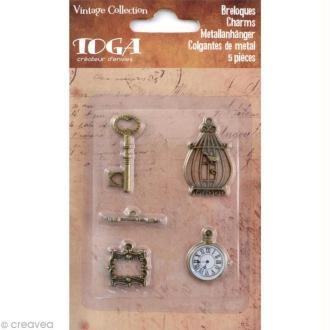 Breloque Vintage en métal x 5