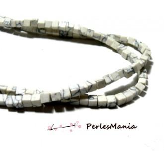 1 fil d'environ 95 PERLES CUBE Howlite Blanc Marbré 4mm 2N1886