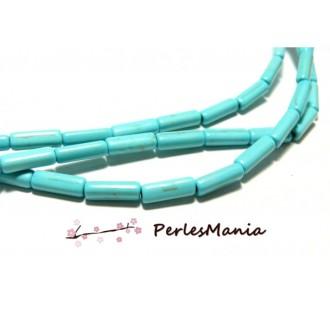 1 fil de 30 TUBE turquoise reconstituées couleur BLEU TURQUOISE HG12015