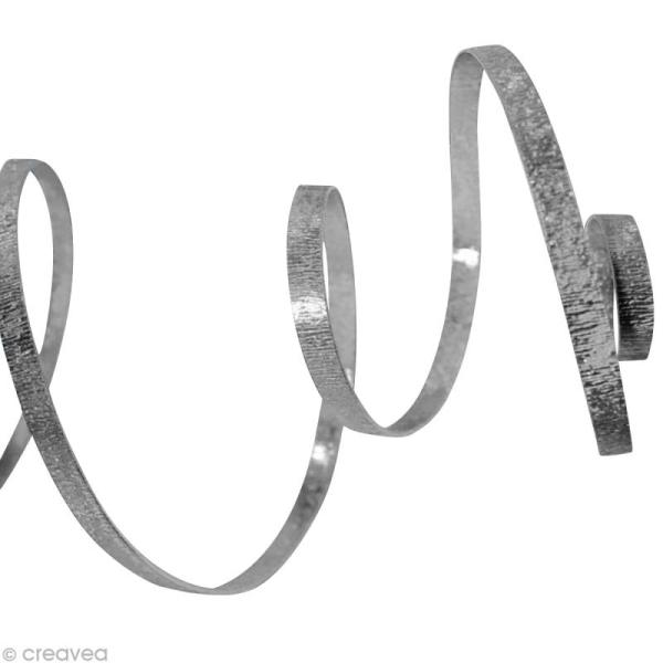 Fil alu plat Strié 5 mm Argent x 5 m - Photo n°1
