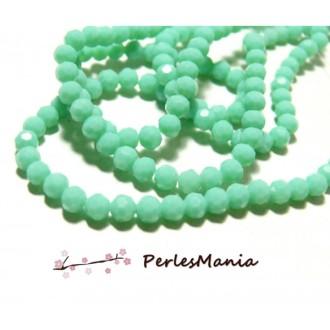 1 fil d'environ 100 perles RONDES à facettes en verre 4mm Vert Pastel H166402H