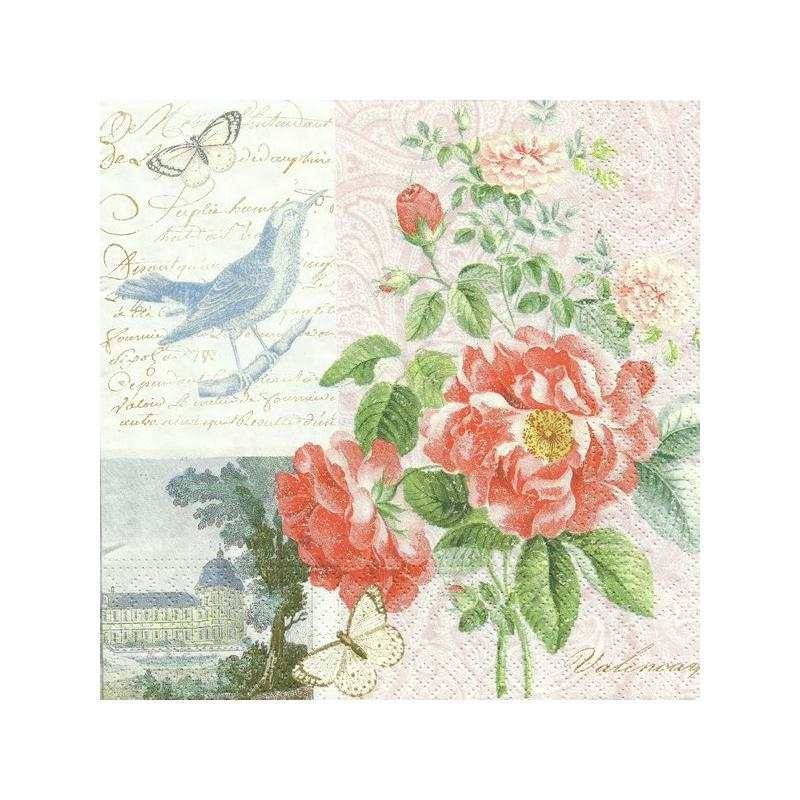 4 serviettes en papier d coupage collage 33 cm parc du ch teau 666 serviette fleurs creavea. Black Bedroom Furniture Sets. Home Design Ideas