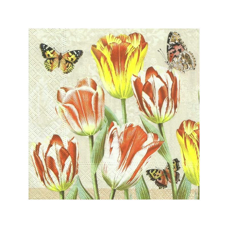 4 serviettes en papier d coupage collage 33 cm mer de tulipes 667 serviette fleurs creavea. Black Bedroom Furniture Sets. Home Design Ideas