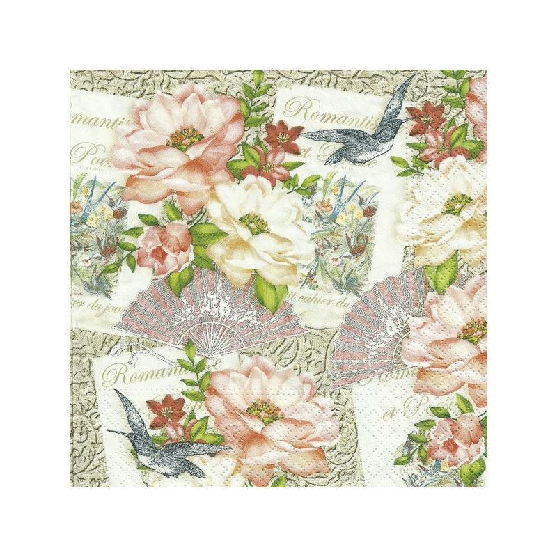4 serviettes en papier d coupage collage 33 cm romentisme et poesie 669 serviette fleurs creavea. Black Bedroom Furniture Sets. Home Design Ideas