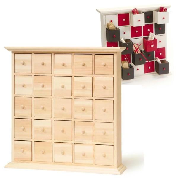 Meuble 25 tiroirs calendrier de l'Avent - Photo n°1