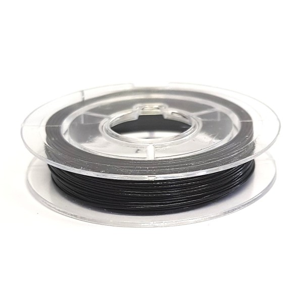 Accessoires création fil câblé 0.45 mm en bobine de 10 mètres Noir - Photo n°1
