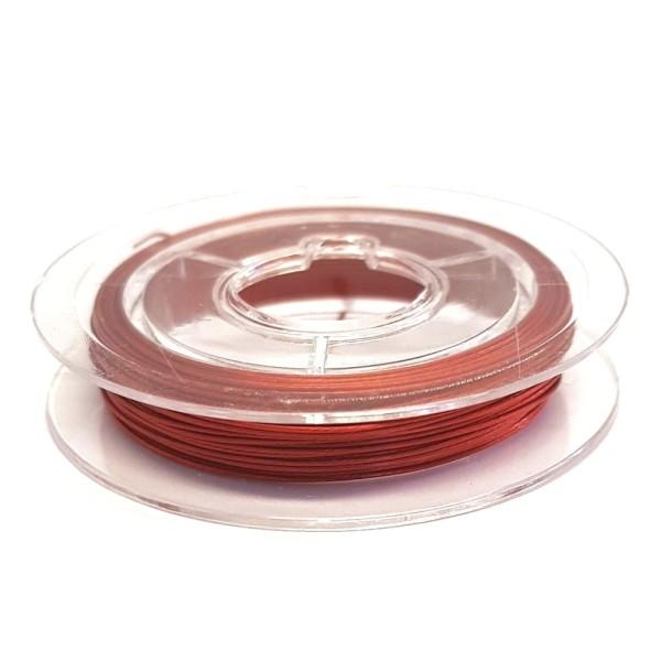 Accessoires création fil câblé 0.45 mm en bobine de 10 mètres Rouge - Photo n°1