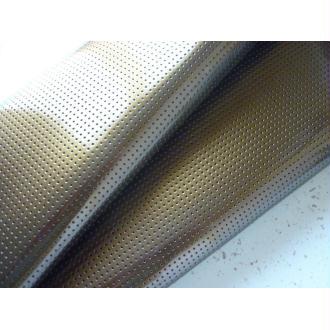 Tissu Vinyle perforé laqué mordoré (marron bronze) - coupon 25 x 45 cm