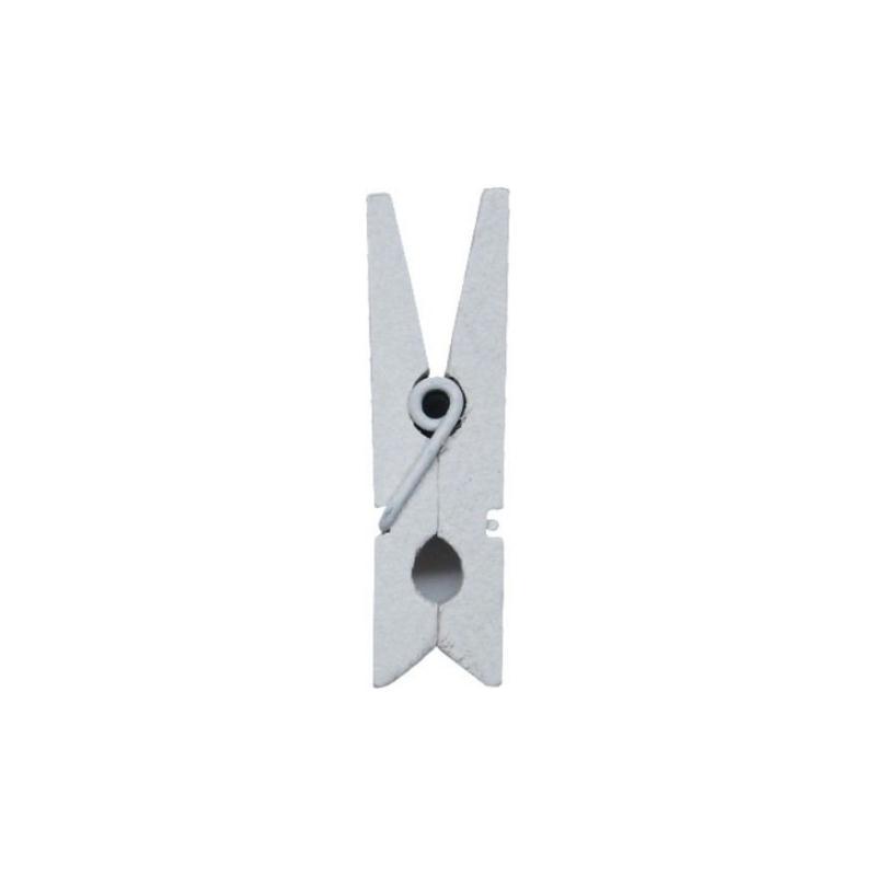 Mini pinces en bois couleur 2 5 cm les 24 couleur blanc for Magasin deco bois