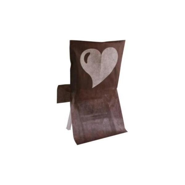 Couleur chocolat Housse Les 10 Coeur De Chaise Intissé Couleur w08OnPk