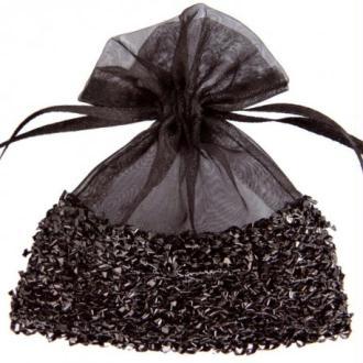 Sachets à dragées organdi résille les 6 (3 couleurs) COULEUR:Noir