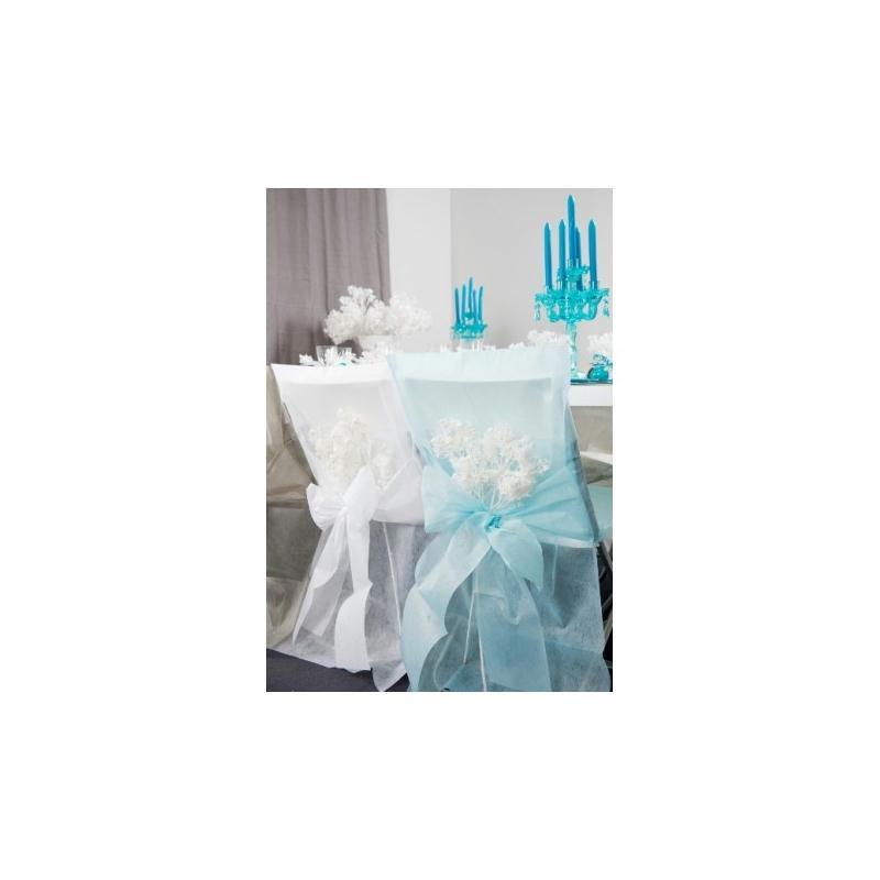 housses de chaise bleu ciel intiss uni avec noeuds les 10 accessoires d co table creavea. Black Bedroom Furniture Sets. Home Design Ideas