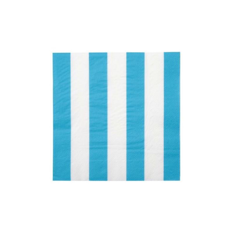 Serviettes de table ray es bleu turquoise blanc les 20 - Serviette de table pour cantine ...
