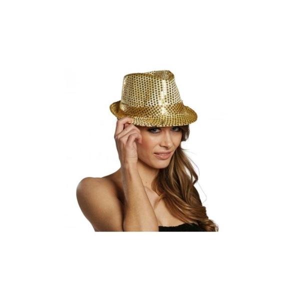 large choix de designs texture nette design distinctif Chapeau borsalino à sequin or clignotant adulte Taille:Unique