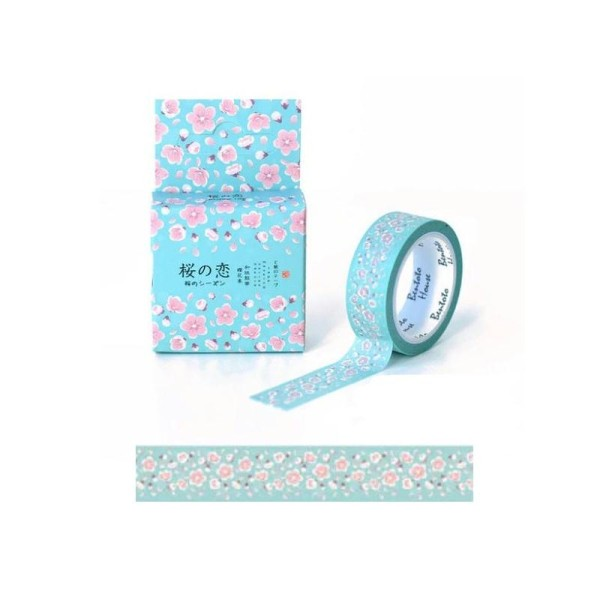Washi Tape ruban adhésif scrapbooking 1,5 x 7 m FLEUR ROSE FOND VERT 2 - Photo n°1
