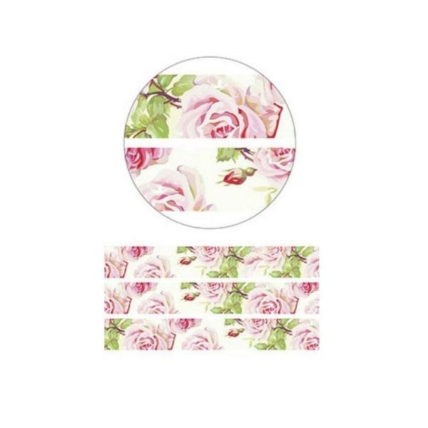 Washi Tape ruban adhésif scrapbooking 1,5 x 10 m ROSE ET FEUILLAGE - Photo n°1
