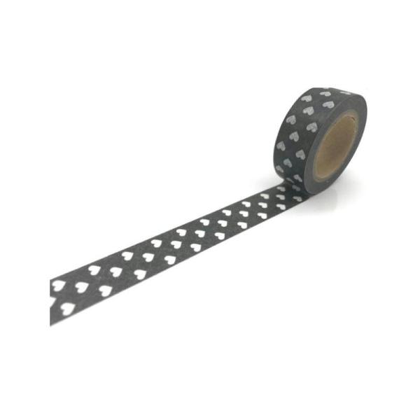 Washi Tape ruban adhésif scrapbooking 1,5 x 10 m CŒUR BLANC FOND NOIR - Photo n°1