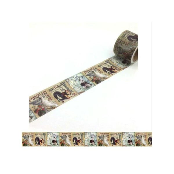 Washi Tape ruban adhésif scrapbooking 3 cm x 5 m VINTAGE ANIMAUX - Photo n°1
