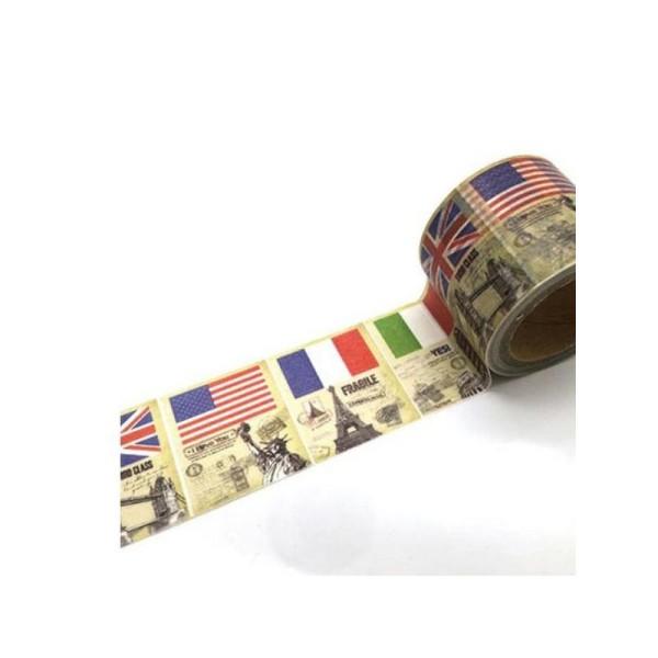 Washi Tape ruban adhésif scrapbooking 3 cm x 5 m VINTAGE EUROPE - Photo n°1
