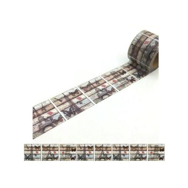 Washi Tape ruban adhésif scrapbooking 3 cm x 5 m VINTAGE PAPILLON - Photo n°1