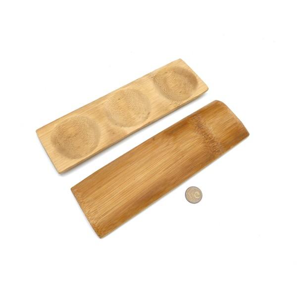 3 Présentoirs Perle En Forme De Plat En Bambou À Trois Compartiments Casiers 18cm X 5cm - Photo n°2