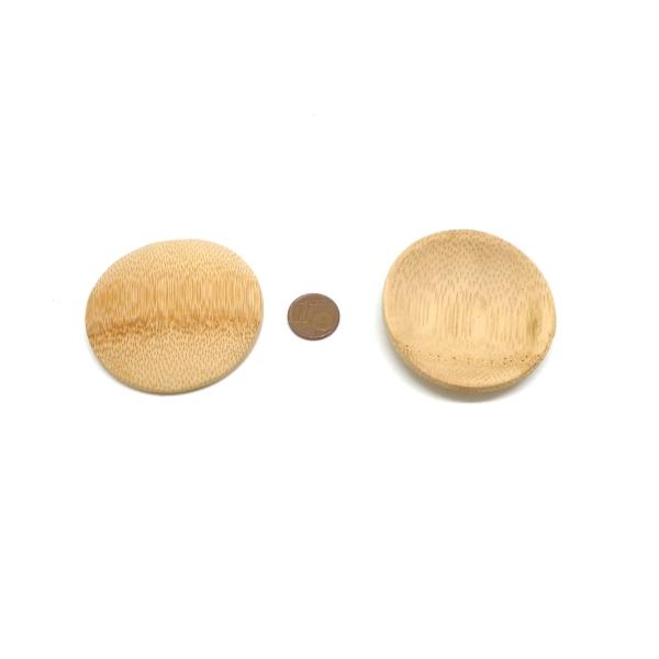 6 Petits Présentoirs Perle En Forme De Coupelle En Bambou 5cm - Photo n°2