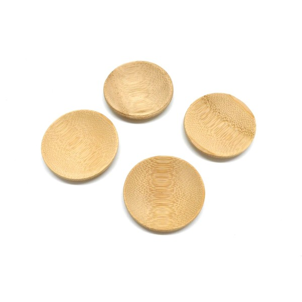 6 Petits Présentoirs Perle En Forme De Coupelle En Bambou 5cm - Photo n°4