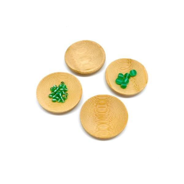 6 Petits Présentoirs Perle En Forme De Coupelle En Bambou 5cm - Photo n°1
