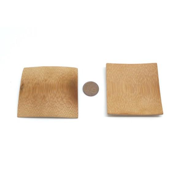 6 Petits Présentoirs Perle Carré En Bambou 56mm X 54mm - Photo n°2