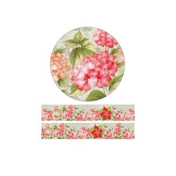 Washi Tape ruban adhésif scrapbooking 3 cm x 10  m FLEUR ROUGE 2 - Photo n°1