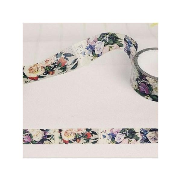 Washi Tape ruban adhésif scrapbooking 2 cm x 6,5  m ROSE BLANCHE - Photo n°1