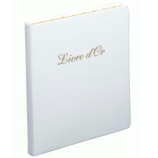Livre d'or en cuir Alpille blanc - Photo n°1