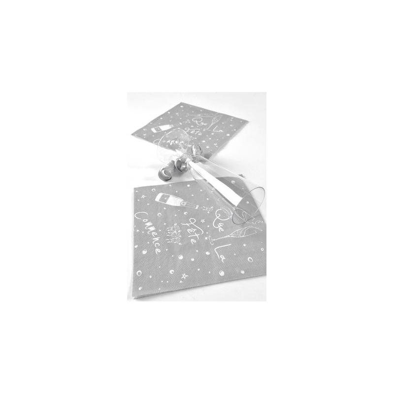 Serviettes de table argent motif f te les 20 serviette - Chemin de table chic ...