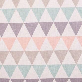 Tissu coton triangles - Rose, vert, taupe & gris- Par 50cm
