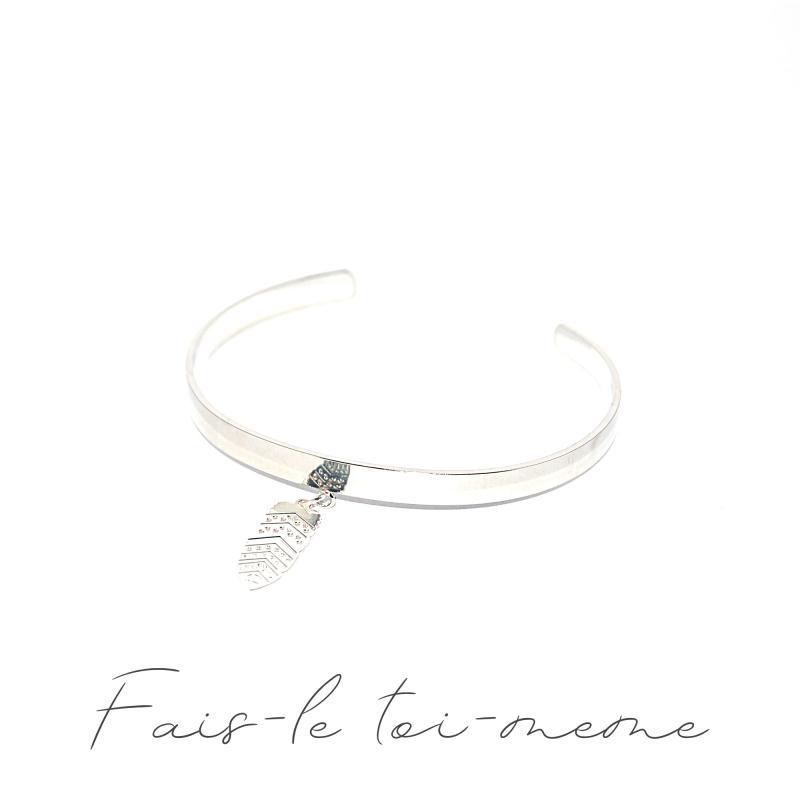 bracelet jonc plume plaqu argent kit bracelet creavea. Black Bedroom Furniture Sets. Home Design Ideas