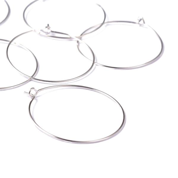Accessoires création boucle d'oreille cerceaux créole 30 mm (10 pièces) Argenté - Photo n°2
