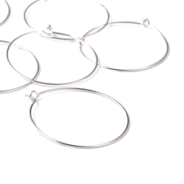 Accessoires création boucle d'oreille cerceaux créole 35 mm (10 pièces) Argenté - Photo n°2