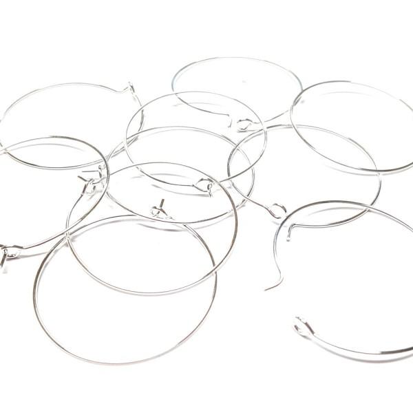Accessoires création boucle d'oreille cerceaux créole 35 mm (10 pièces) Argenté - Photo n°3