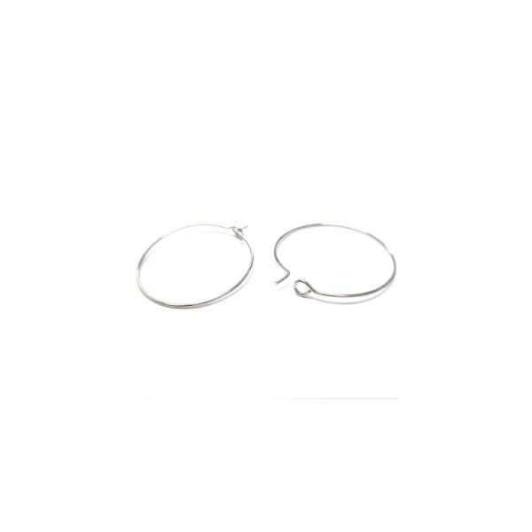 Accessoires création boucle d'oreille cerceaux créole 35 mm (10 pièces) Argenté - Photo n°4