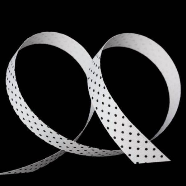 1 Ruban adhésif en tissu POIS NOIR FOND BLANC - Photo n°1