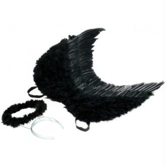 Ailes d'ange plumes noires avec auréole noire adulte 53 x 60 cm Taille:Unique
