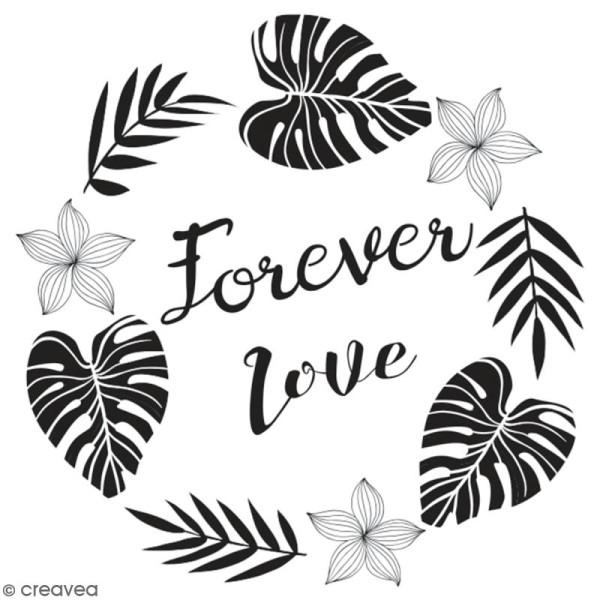 Tampon en bois Aladine - Forever love - 6 x 6 cm - Photo n°1