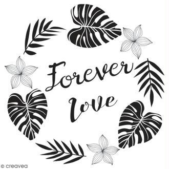 Tampon en bois Aladine - Forever love - 6 x 6 cm