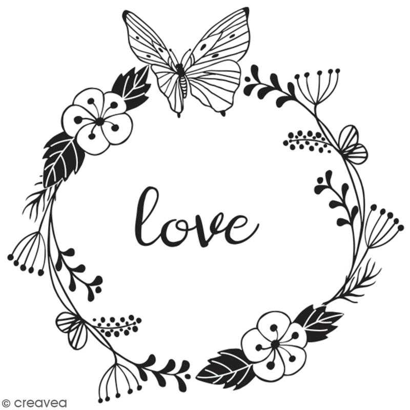 Tampon en bois Aladine - Love - 6 x 6 cm - Photo n°1
