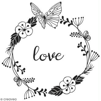 Tampon en bois Aladine - Love - 6 x 6 cm