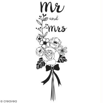 Tampon en bois Aladine - Mr and Mrs - 3 x 9 cm