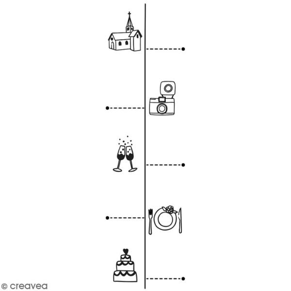 Tampon En Bois Aladine Timeline Mariage 3 X 9 Cm Tampon Bois