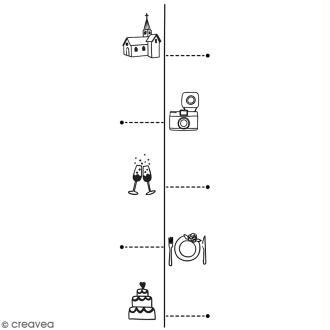 Tampon en bois Aladine - Timeline mariage - 3 x 9 cm