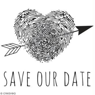 Tampon en bois Aladine - Save our date - 4 x 4 cm